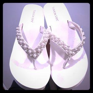 Wedding wedge flip flops